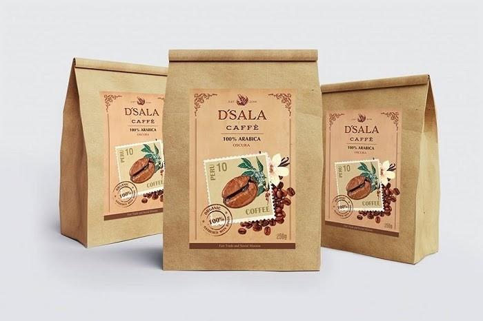Túi giấy Kraft dùng để đóng gói bột cafe
